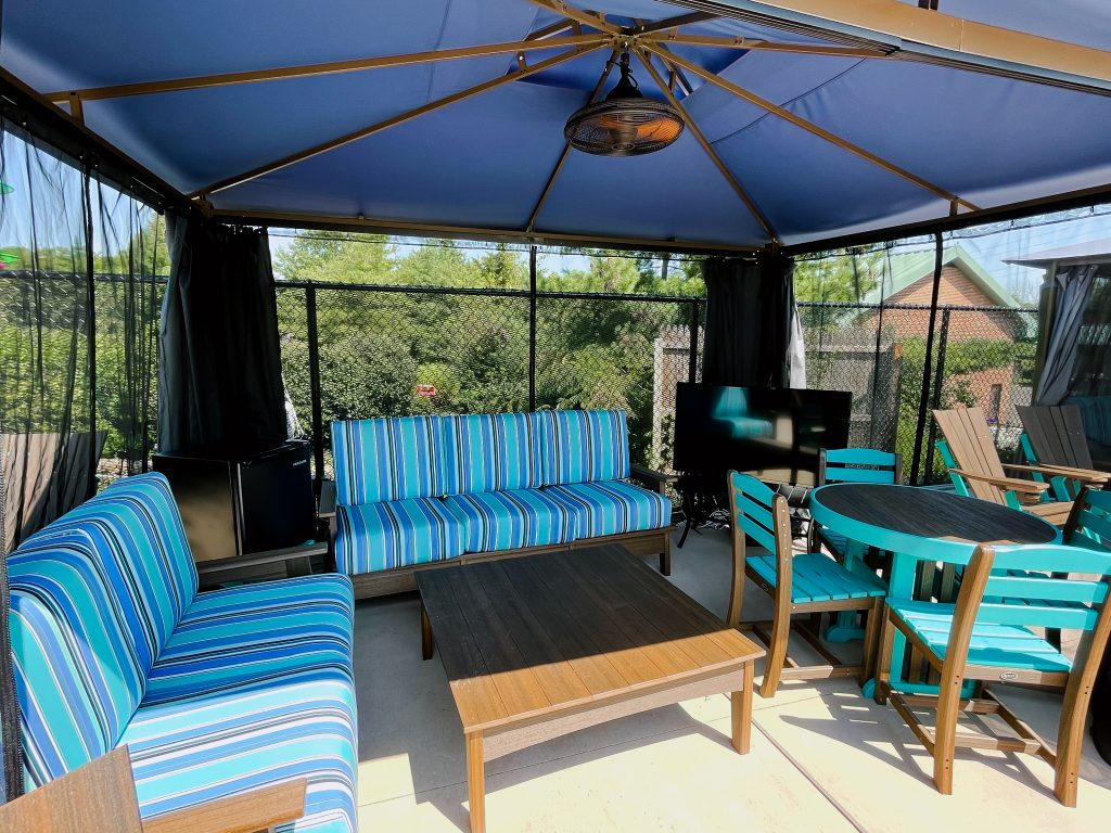 Each Villas includes 2 couches, dining table, 2 lounge chairs, TV, and mini fridge with complementary water bottles.